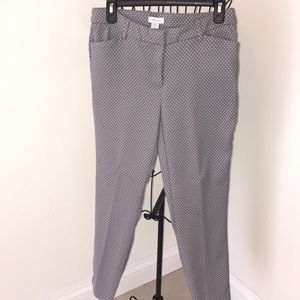 Gray and white dress pants.